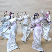 Five Art Nouveau French Bisque Dancing Girls Vintage