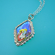 SALE Morpho Butterfly Wing Saint Christopher Medal Necklace