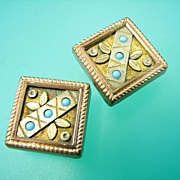 Victorian Turquoise Ornate Cufflinks Gold filled - Antique
