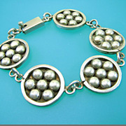 Mod Circle and DotsTaxco Mexico Bracelet - Vintage Sterling Silver