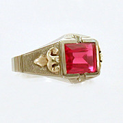 Art Deco Era Emerald Cut Ruby 10k White & Yellow Gold Ring
