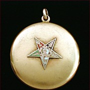 Vintage 10k Gold Locket Enameled Eastern Star