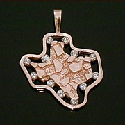 Retro 14k Nugget State of Texas Pendant with 12 Diamonds