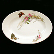 Haviland Limoges Meadow Visitors Platter Butterflies Among Pink Flowers