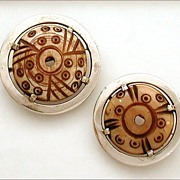 Studio Jewelry Tribal Carved Bone Sterling Pair Pins