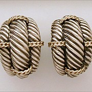 Statement Size David Yurman Sterling & 14k Yellow Gold Cable Earrings