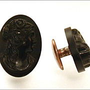 Antique 19th Century Gutta Percha Mourning Cameo Cufflinks