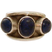 Stylish Triple Lapis Stone Sterling Wide Ring
