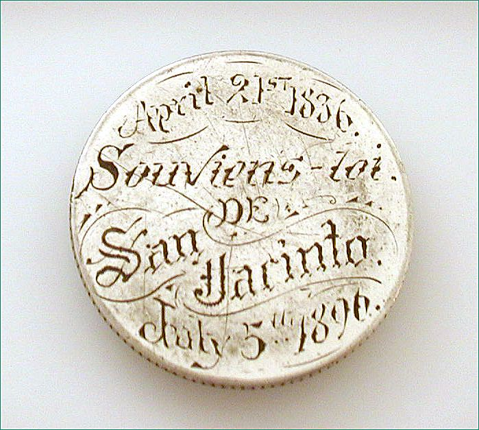 Rare 1836 to 1896 Texas Love Token Battle of San Jacinto 60 Yr. Anniversary on 1893 Quarter Coin