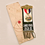 GAR Grand Army of the Republic Memoriam Badge Ribbon James Price Post 203 Tipton Indiana