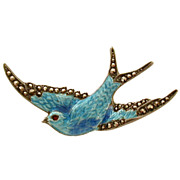Superb Sterling Blue Enamel Swallow Pin Marcasites Removable Safety Chain