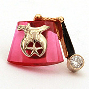 Stunning Masonic Shriner 14k Diamond Enamel Ruby Tie Tack