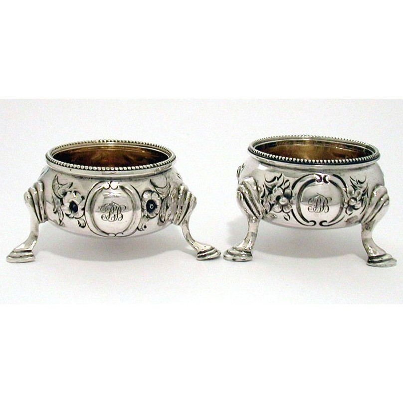 Pair Victorian Sterling Open Salt Cellars with Heavy Repousse Work