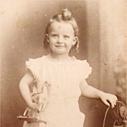 Carte de Visite Full Figure Photograph Little Girl with Toy Horse CDV