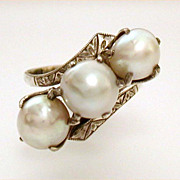 Early Ring with Trio of Pale Gray Baroque Pearls Hand Engraved Sterling