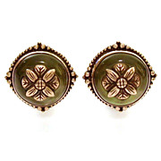 Estate Olive Green Glass in Detailed Bronze Settings Clip Earrings