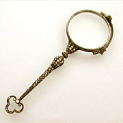 French Sterling Lorgnette Delicate Jewel Encrusted Handle