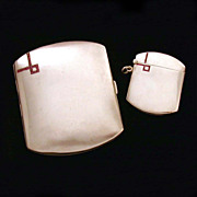 Art Deco German Cigarette & Vesta Cases Square Rubies in 800 Silver