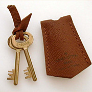 Pair Louis Vuitton Brass Skeleton Luggage Keys in Leather Pouch