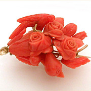 Victorian Carved Coral 14k Bouquet Brooch with Bird Fruit & Acorns