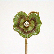 Antique Stickpin Enamel Ruffled Leaf 10K Gold with Diamond