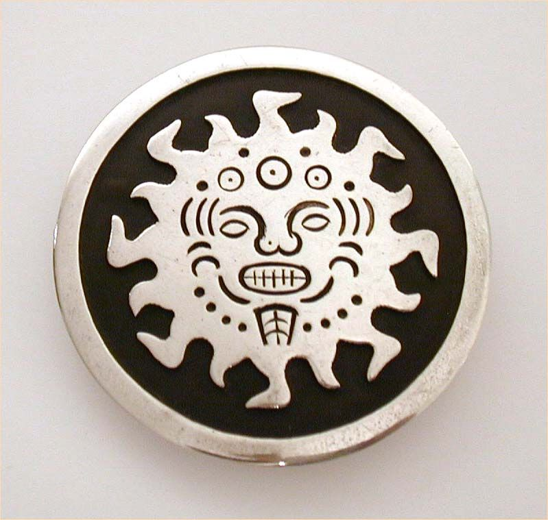 Bold Graphic Aztec Sun Taxco Mexico Pre-Eagle Sterling Pin Pendant