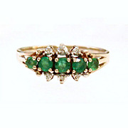 Emerald and Diamond 14k Yellow Gold Estate Ring