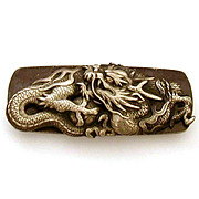 Silver Tone Dragon & Ball Japanese Sword Fitting