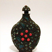 Antique Chinese Snuff Bottle Enamel & Coral Jewels