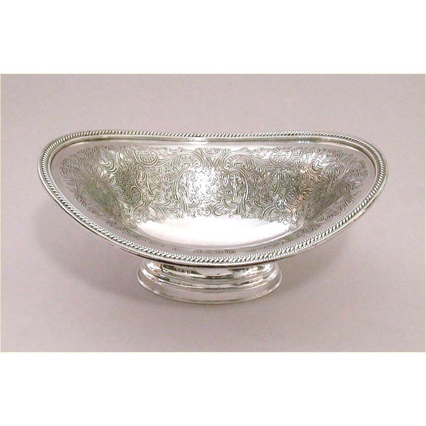 "1912 Ellis Barker Menorah Hallmark Ornate 7"" Silverplate Footed Bowl"