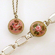 Lavender Pink Guilloche Enamel Sterling Child's Bracelet & Necklace Germany