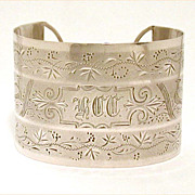 Antique Beautifully Detailed Hand Engraving Sterling Cuff Bracelet