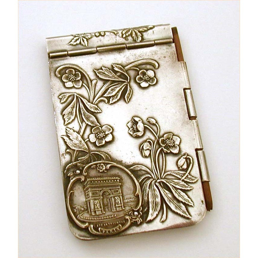 1900 Art Nouveau Souvenir of Paris Silver Plate Notebook 4&quot;