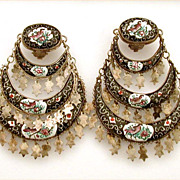Vintage Graduated Persian Enamel Dangle Clip Earrings