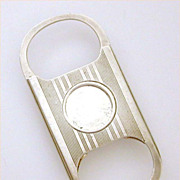Engine Turned Sterling Cigar Cutter Personal Pocket Size