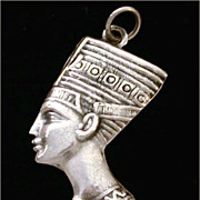 Queen Nefertiti Puffy Pendant Large Charm From Egypt 800 Silver