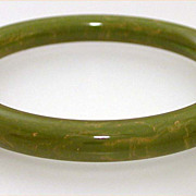 Marbled Light Green Bakelite Bangle Bracelet