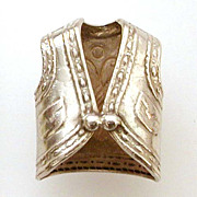 1940's Dimensional Sterling Charm - Southwestern Vest
