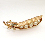 Trifari Figural Pea Pod Pin with Costume Pearl Peas Peapod Brooch
