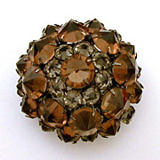 Japanned Pin Reverse Set Cognac & Gray Open Back Rhinestones