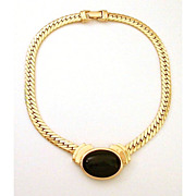 Stylish Napier Gold Tone Chain Collar Necklace Black Lucite Stone