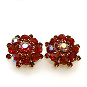 Weiss Dramatic Red Earrings Beads Aurora Borealis Rhinestones