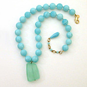 Signed Estate Necklace Blue Glass Beads & Celadon Green Stone Pendant