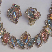 ~~To Die For ~~ Stunning Weiss Pastel Colored Swarovski Rhinestone Choker and Earring Set