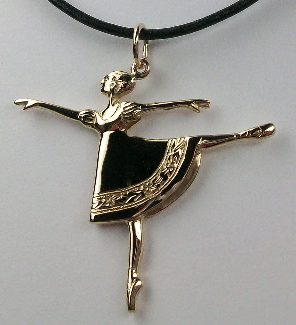 Arabesque necklace, 14k and leather