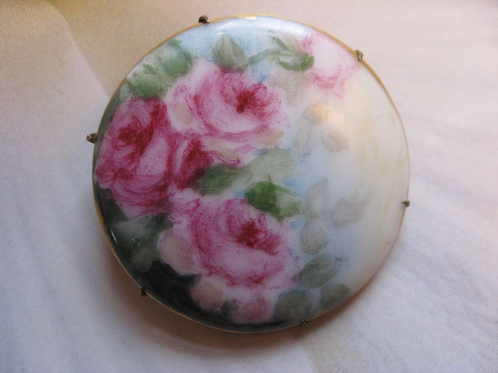 Victorian Hand Painted Porcelain Pin