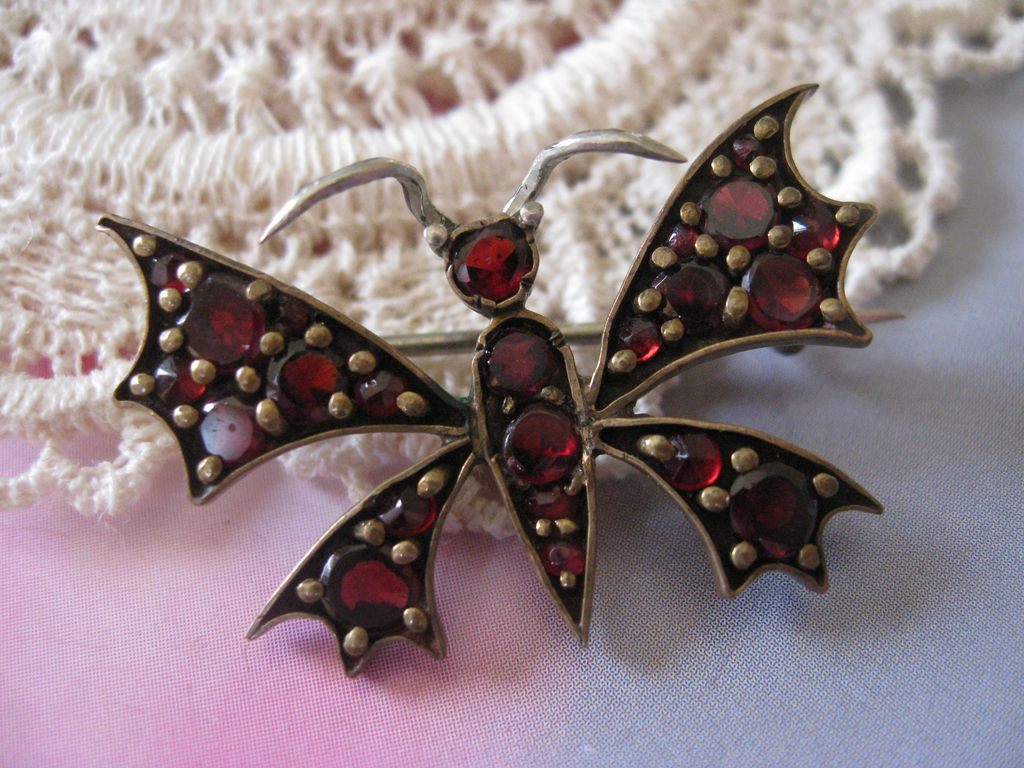 Victorian Bohemian Garnet Butterfly Pin   January Birthstone