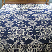 Early American Jacquard Coverlet  Cream & Blue