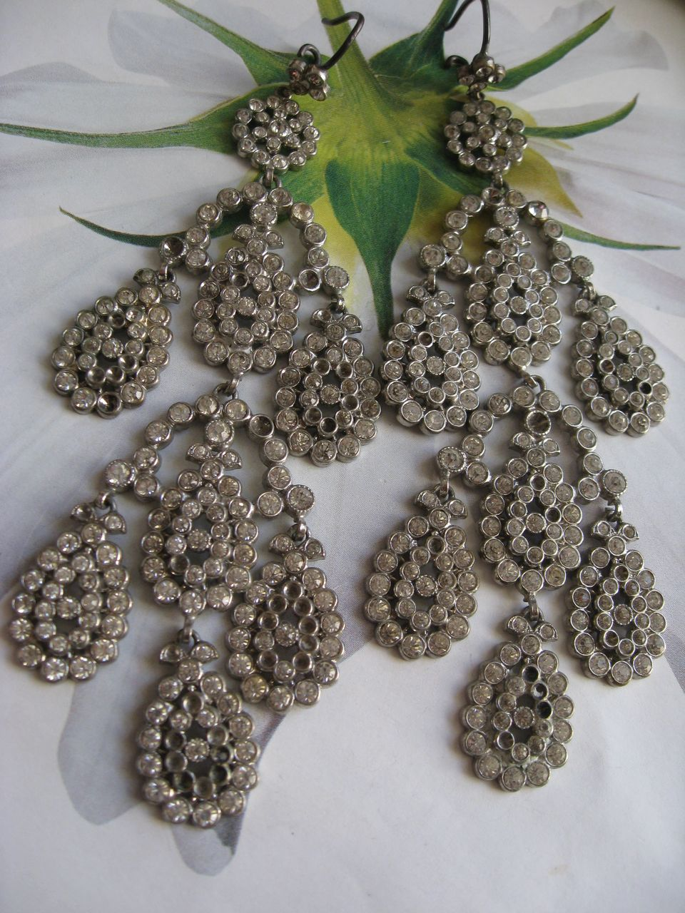Victorian Paste Shoulder Duster Pierced Earrings