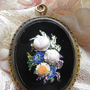 Victorian Mosaic Locket Pendant     Raised Flowers